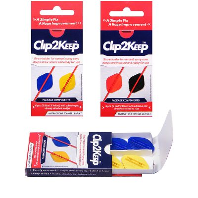 clip2keep, retail pack, straw holder for aerosol spraty can lubricants